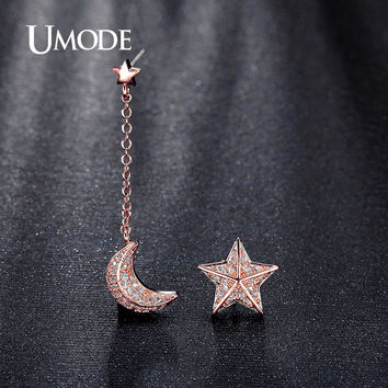 UMODE Mismatched Star and Moon With Chain CZ simulated Diamond White Rose Gold Plated Drop Earrings for Women Pendientes UE0196