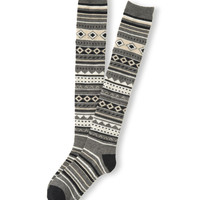 Aeropostale Womens Fair Isle Over-The-Knee Socks - Gray, 9-11