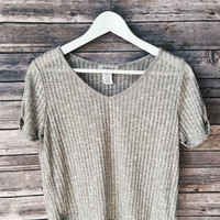 Gray Ribbed Crop Tee