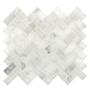 MS International Arabescato Carrara Herringbone Pattern 12 in. x 12 in. x 10 mm Honed Marble Mesh-Mounted Mosaic Tile (10 sq. ft. / case)-SMOT-ARA-HBH - The Home Depot