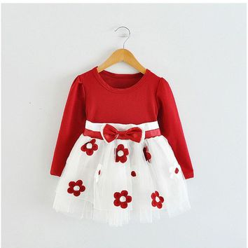 Cute Baby Girl Dress Cotton Children Kids Dresses One Piece  Autumn Clothing For School Casual Wear