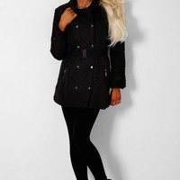 Boston Black Double Breasted Quilted Coat | Pink Boutique
