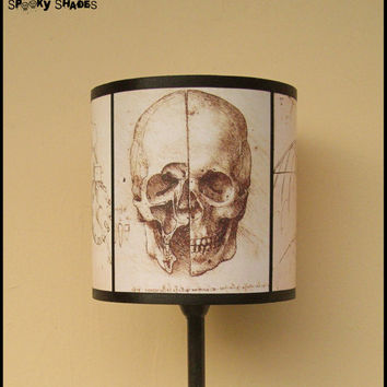 Da Vinci's Creed Skull lamp shade lampshade - anatomy skeleton, steampunk decor, Da Vinci sketches, Renaissance, Assassin's creed, Italy