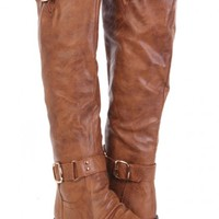 Cognac Faux Leather Buckled Strappy Boots