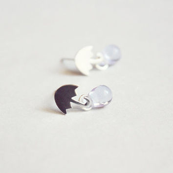 tiny umbrella earring studs  delicate everyday jewelry by PetiteCo