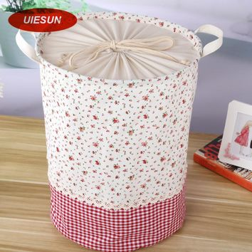 35x45cm Colorful Plaid Laundry Bag With Cover Cotton Washing Laundry Basket Dirty Clothing Bags Toy Storage Bag UIE650