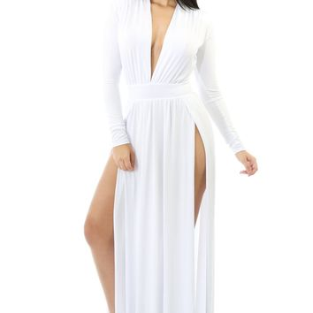 White Super Classy Long Sleeves Double Slit Long Maxi Dress