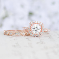 Rose Gold Wedding Set - Art Deco Ring - Engagement Ring - Wedding Ring - Cushion Cut Ring - Halo Ring - Sterling Silver - Vintage Inspired