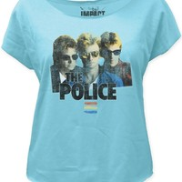 The Police Synchronicity T-shirt - Band Member Photograph with The Police Logo. Women's Blue Vintage Dolman Shirt