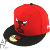 NBA Chicago Bulls New Era 59Fifty 2Tone Basic Chibulhc Team Fitted Red/Black Hat