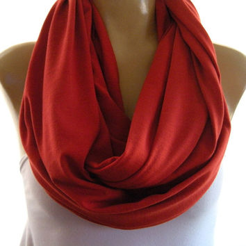 Sweet Paprika Spice colors  infinity scarf  Nomad Cowl paprika red jersey circle loop scarf,