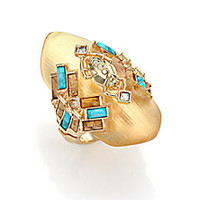Alexis Bittar - Phoenix Deco Lucite, Turquoise Howlite, Jasper & Crystal Beetle Shield Ring - Saks Fifth Avenue Mobile