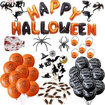 Cyuan Halloween Foil Balloons Haunted House Horror Fake Spiders Cockroach Happy Halloween Party Decorations Kids Bunting Flags