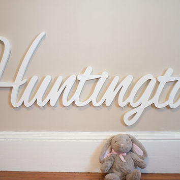 "Giant Wooden name sign 16 - 18 "" tall  letters Baby Name Plaque  PAINTED nursery name nursery decor wooden wall art , above a crib"