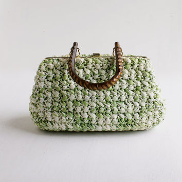 Vintage Green & White Basket Purse - 1950s 1960s Woven Raffia Retro Fashion Bag / Wooden Handle