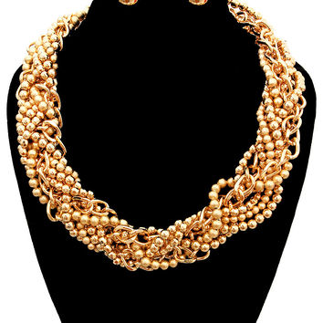 Multi Tiny Gold Pearl Chunky Statement Necklace