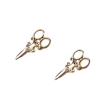 Gold and SIlver Plated Scissor Stud Earrings for Women