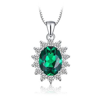 Jewelry palace Princess Diana Created Alexandrite Sapphire Created Ruby Nano Russian Simulated Emerald 925 Sterling Silver Pendant Necklace 18""