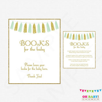 Book Request Baby Shower, Mint and Gold Baby Shower, Bring a Book Instead of Card, Baby Shower Sign, Baby Shower Printables, Tassels, TASMG
