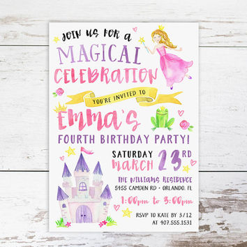 Princess Birthday Invitation, Princess Party Custom Invitations- Printed or Digital