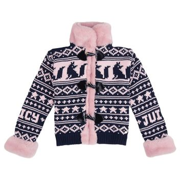 Regal - Petal Blush Girls Fair Isle Fur Sweater by Juicy Couture,