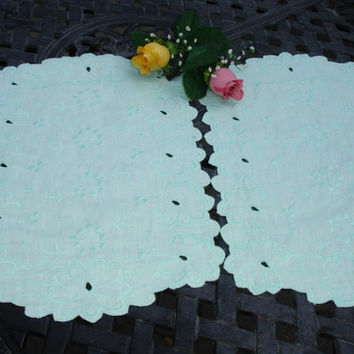 CEnterpiece Dolies, Tray liners, Placemats, set of two, eyelet lace, seafoam green, vintage dining, tea party, high tea, table linens