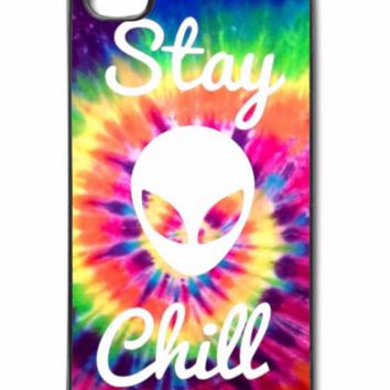 Stay Chill Alien Plastic Case Cover for Apple iPhone Tie Dye Alien