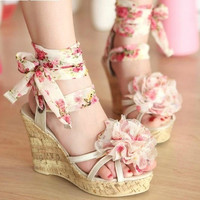 Ribbon Flower Sandals