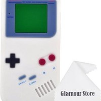 iPhone 6 Case,Retro 3D Game Boy Gameboy Design Style Soft Silicone Cover Case For New Apple iPhone 6 6G 4.7 inch,Not Fit For Apple iPhone 6 Plus 5.5 inch+ Free Cleaning Cloth As a gift (White)