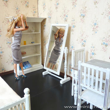 1/6 scale Floor Mirror for dolls (Blythe, Barbie, BJD,  Momoko). Shabby Chic style.