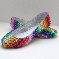 Rainbow Rhinestone Flats Shoes by ToxicInjection on Etsy