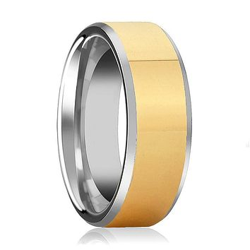Aydins Mens and Womens Tungsten Carbide Wedding Band Ring Polished Gold Center Beveled Edge 6mm, 8mm