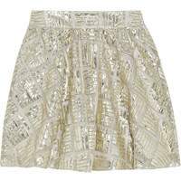 Alice + Olivia Jaylyn metallic mesh mini skirt – 60% at THE OUTNET.COM
