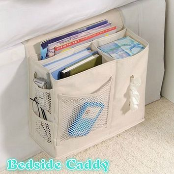 Pocket Bedside Caddy - Hanging Storage Organizer for Books, Phones, Tablets, Accessory and TV Remote
