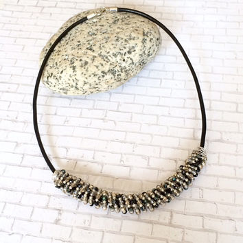 Beaded Leather Necklace Black Leather Beaded Statement Necklace Contemporary Beaded Necklace Glass Bead Tribal Style Necklace Gift For Her