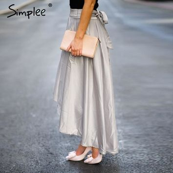 Simplee Slip satin sash ruffle long skirt Summer black loose high waist skirt Elegant bow high low party red women skirt