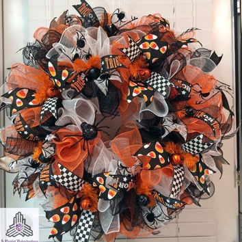 Halloween Spider Orange Black White Ruffle Deco Mesh Wreath