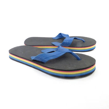 1980s Flip Flops Vintage Sandals Blue Black Stripe Foam 80s Eighties Thick
