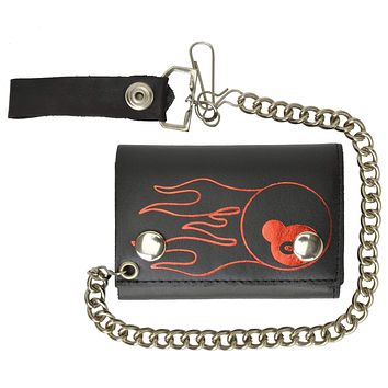 Genuine Leather Chain Trifold Biker Wallet with 8 Ball Long Flames 946-37 (C)