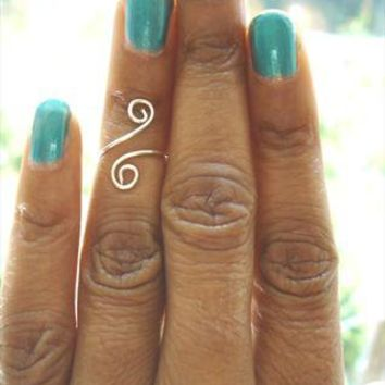 Sterling Silver Above The Knuckle Wire Ring Spiral Midi Ring from azteclovers