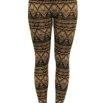 Brogan Aztec Print Leggings in Mid Grey