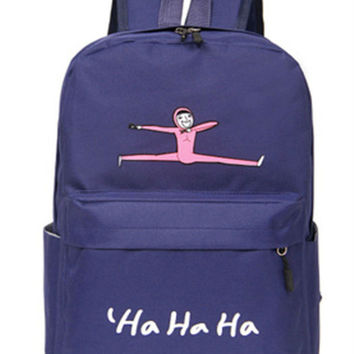 Cute Navy Jumping Man Canvas Backpack