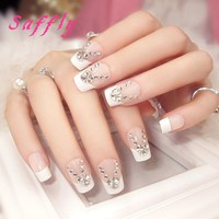 Saffly Hot Sale Fashion Hybrid color False Nail geometry  Nail Tips Fake Nail Tips Manicures Tools with rhinestone Fake Nail