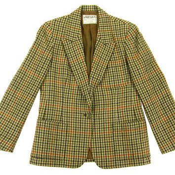 Vintage Plaid Blazer - Wool Camel Black Check Tailored Fitted 70's Ivy League - Women's Size Small Medium Sm Med S M