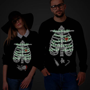 GLOW in the Dark, Christmas Sweatshirt, Christmas Maternity Sweatshirt, Couple Sweatshirt, Couple Sweaters, Maternity Sweater, UNISEX