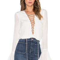 STONE_COLD_FOX Powell Blouse in White Silk