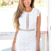 Off White Crochet Short Dress