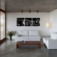3 Windy Scroll Panels - Modern Vinyl Wall Art Decal Stickers Decor Graphics