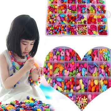 Jigsaw Puzzle Amblyopia Candy Colors DIY Wear Beads Bracelet Kids Toys Geometric Shape Personalized Jigsaw Gift for Children