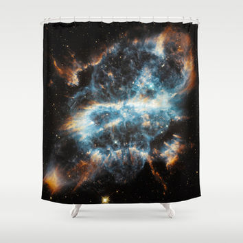Bright galaxy nebula space and stars swirl hipster star photograph geek cool geeky gift Shower Curtain by iGalaxy